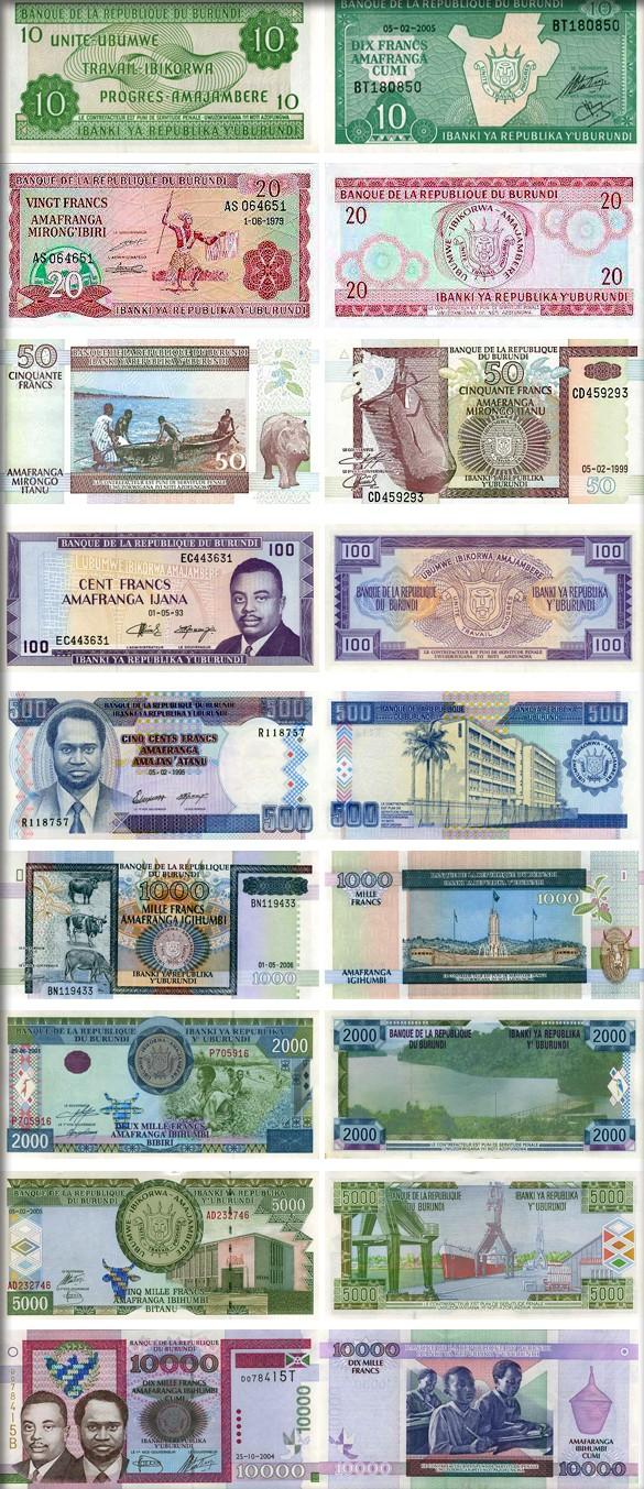 Банкноты (купюры) Бурунди