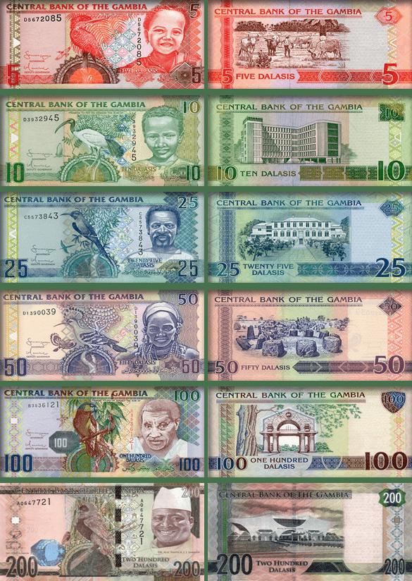Валюта Гамбии - банкноты