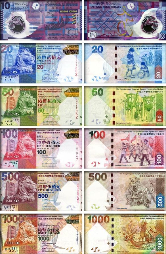 валюта Гонконга - банкноты (купюры)