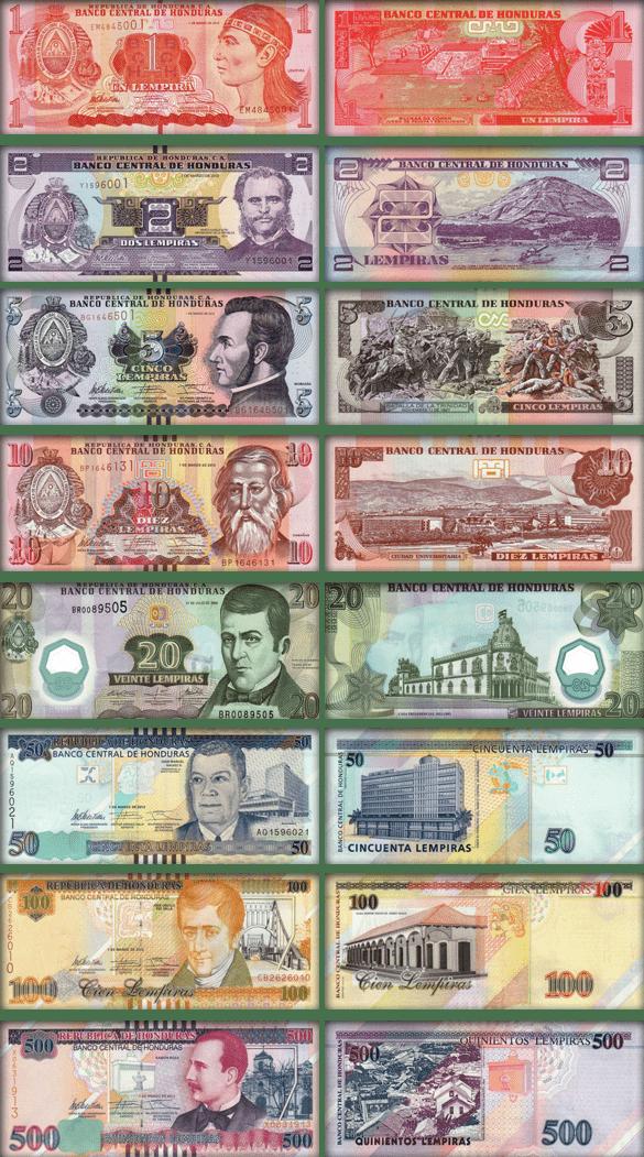 Валюта Гондураса - банкноты