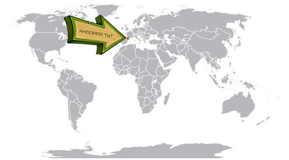 Андорра на карте мира