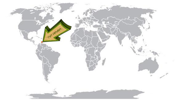 Аруба на карте мира