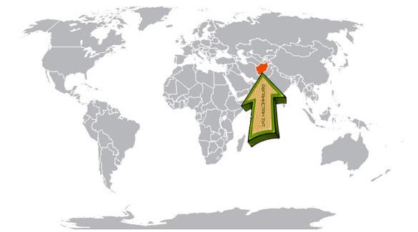 Афганистан на карте мира