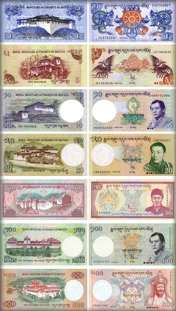 Банкноты (купюры) Бутана
