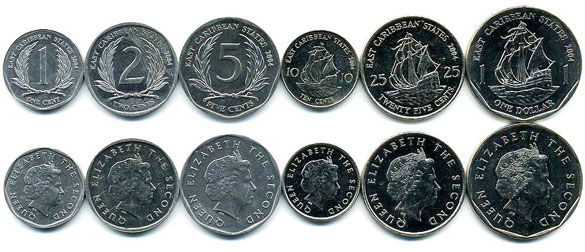 Валюта Антигуа и Барбуды. Монеты