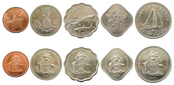 Валюта Багам. Монеты