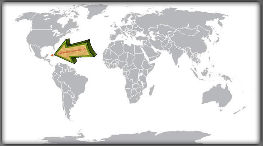 Каймановы острова на карте мира