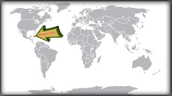 Острова Кайман на карте мира