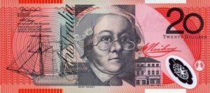20 австралийских долларов. Аверс.